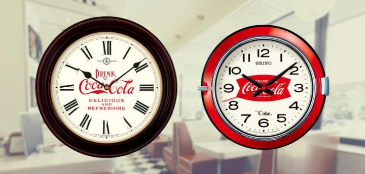 壁に歴史をかける4種類の「コカ・コーラ クロック」