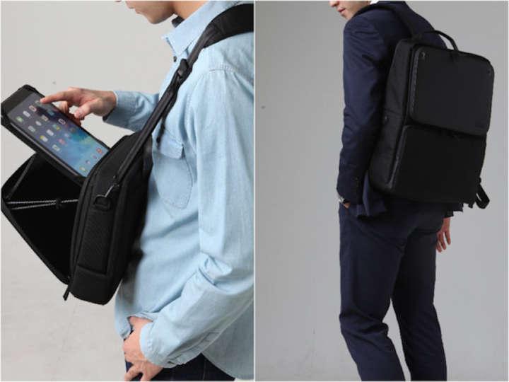 バッグにスタンドがあれば満員電車でもタブレットが余裕で使えます