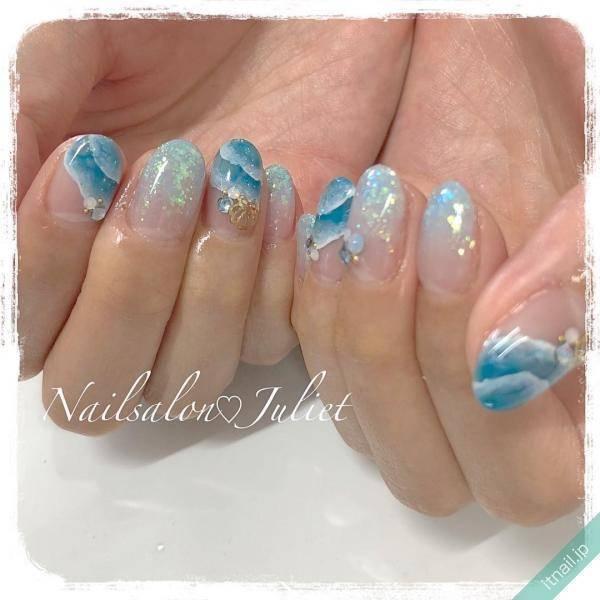 爽やかで夏らしい指先♡ブルー系カラーのシンプルネイル特集
