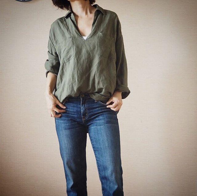 ユニクロ&GUでも、カーキシャツなら着回せる!40代のオフィスコーデ