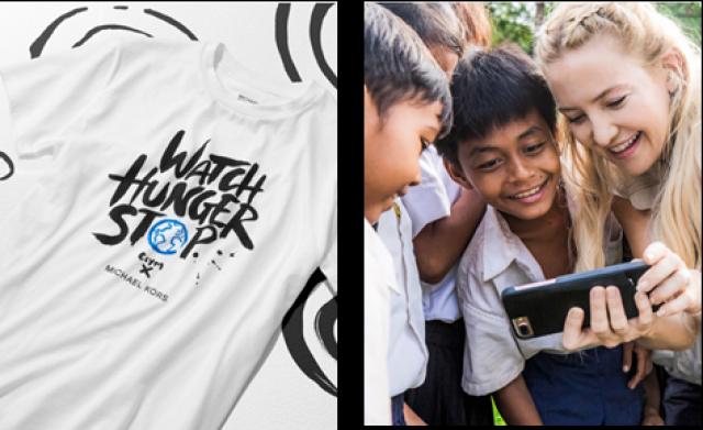 マイケル・コースが「ウオッチ・ハンガー・ストップ」Tシャツ無料配布を実施