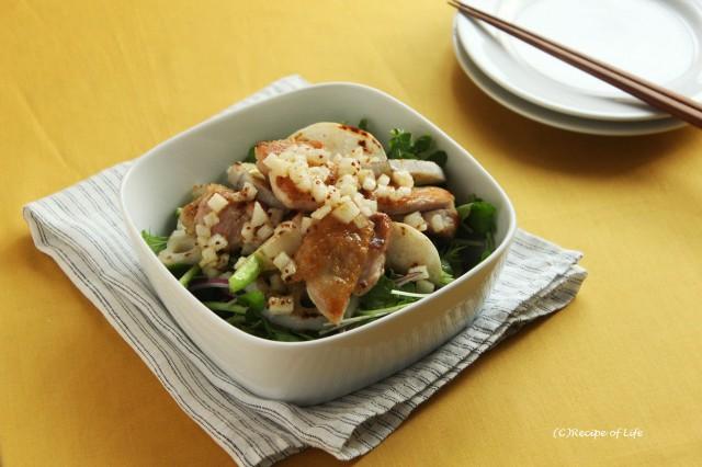 根菜料理の時短コツは?梨ドレッシングで、かぶとレンコンの鶏サラダ