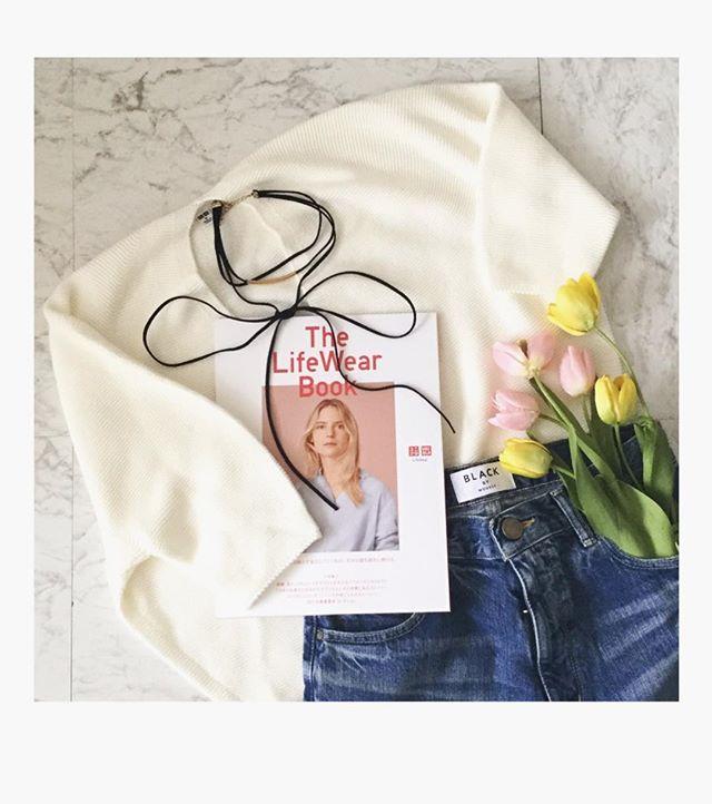 40代女子のナチュラルな細見えコーデに。ユニクロ「コクーンVネックセーター」