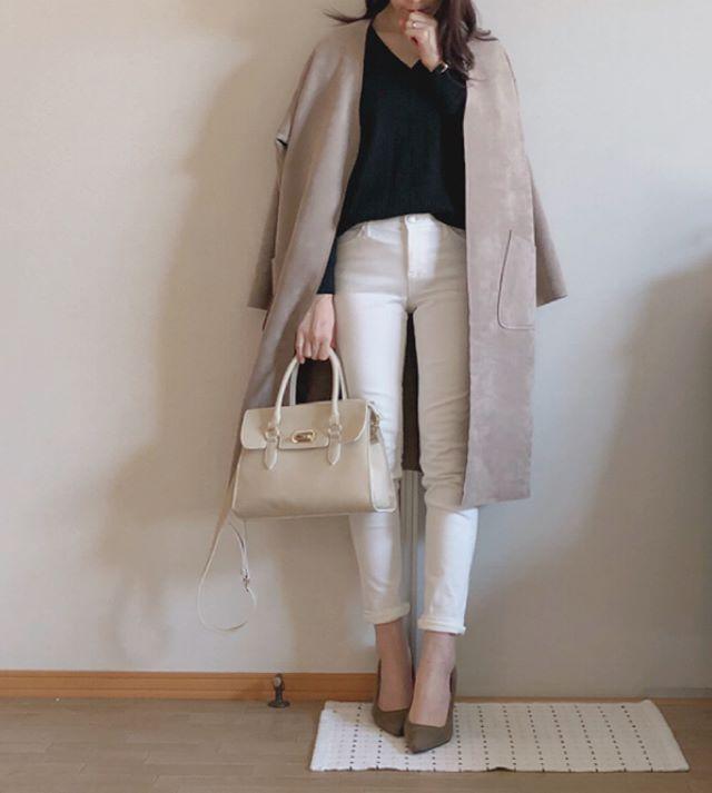 「コートは袖を通さず羽織るだけ」が着痩せのポイント【40代の毎日コーデ】