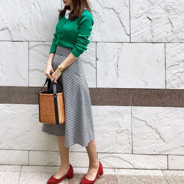 濃いめグリーン×GUギンガムでつくるお嬢様スタイル【40代の毎日コーデ】