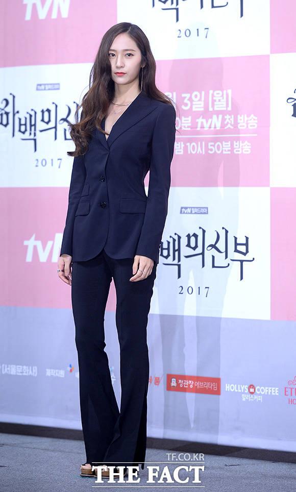 f(x)のクリスタルが27日午後、ソウル市内にあるインペリアルパレスホテルで開催されたtvNドラマ「河伯の花嫁2017」の制作発表会に出席した。