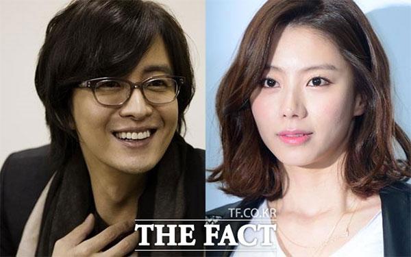 ペ・ヨンジュンの妻で女優のパク・スジン(右)が第2子を妊娠したことが分かった。