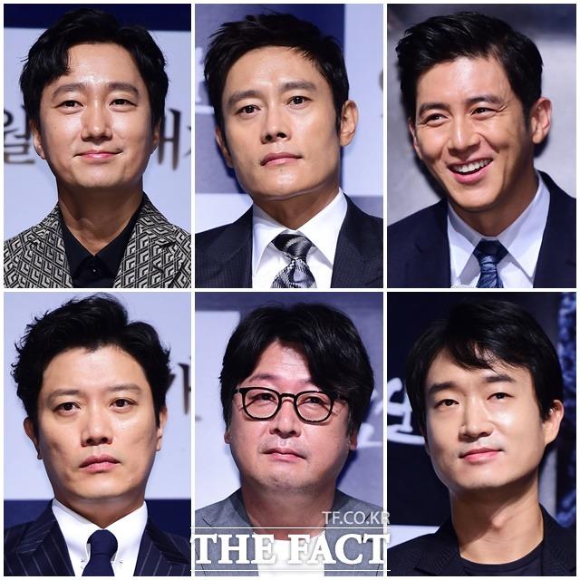 (写真左上から時計回りに)パク・ヘイル、イ・ビョンホン、コ・ス、チョ・ウジン、キム・ユンソク、パク・ヒスン