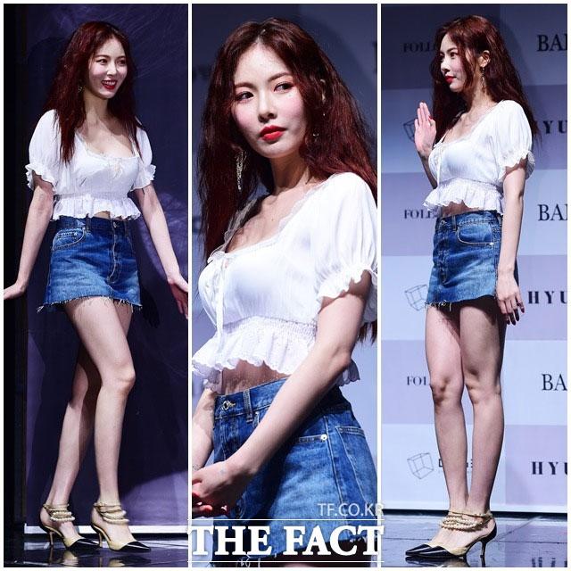 歌手のヒョナが29日午後、ソウルで開かれた自身6番目のミニアルバム「Following」の発売記念記者会見に出席した。