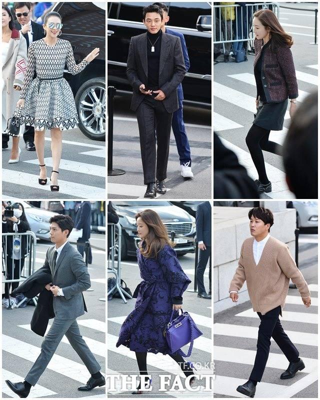 ソン・ジュンギ&ソン・ヘギョの結婚式に出席したスターたち。左上から時計回り方向で、中国女優のチャン・ツィイー、俳優ユ・アイン、女優チェ・ジウ、俳優チャ・テヒョン、女優キム・ヒソン、俳優パク・ボゴム。|撮影:イ・ドクイン