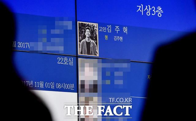 交通事故で死亡した故キム・ジュヒョクさんの殯所(棺に遺体を仮安置する場所)が31日、ソウル・現代峨山病院に設けられた。|写真共同取材団