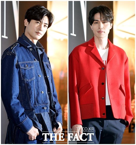 俳優のパク・ヒョンシク(左)とイ・ドンウクは7日、ソウル・江南で開かれた「バレンチノThe VLTNポップアップ」オープン記念イベントに参加した。