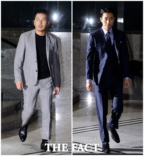 俳優ハ・ジョンウ(左)とチョン・ウソンが13日午後、ソウル・グランドハイアットホテルで開かれた化粧品ブランド「ムッシュジェイ」のイベントに出席した。