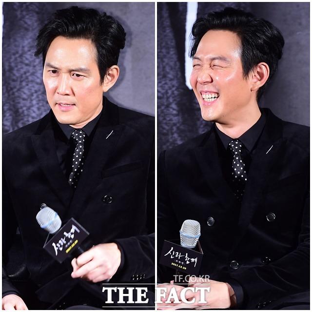 俳優のイ・ジョンジェが14日午前、ソウルで行われた映画「神と共に」の制作報告会に出席した。|ぺ・ジョンハン