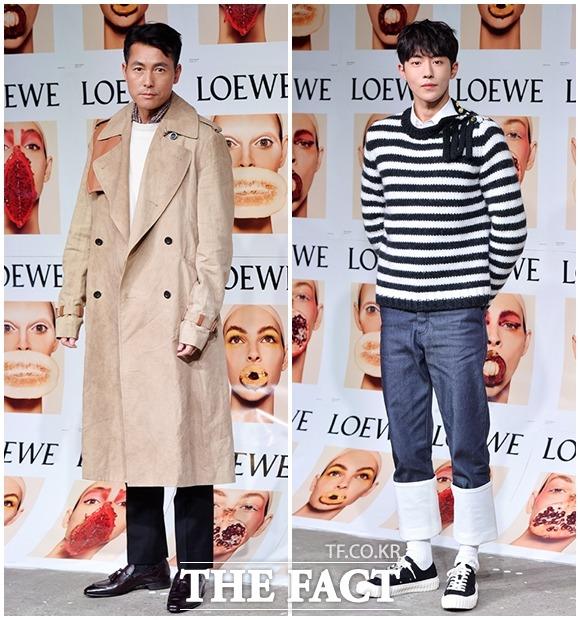 """俳優のチョン・ウソン(左)とナム・ジュヒョクが14日、ソウルで行われたブランド「ロエベ」の""""2018春•夏レディースコレクション""""イベントに参加した。"""
