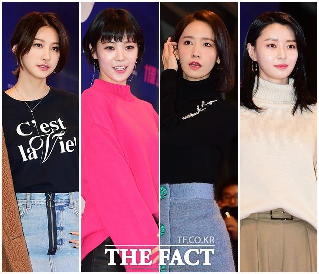 女優のユ・イニョン、AFTERSHCOOLのリジ、少女時代のユナ、HELLOVENUSのナラ(左から)が最近行われた映画「クン」のVIP試写会に出席した。