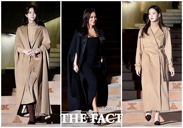 左からキム・オクビン、オムジョンファ、オヨンソが28日、ソウル・東大門デザインプラザで開かれた女性服ブランドMaxMaraの「coats!」のイベントに出席した。