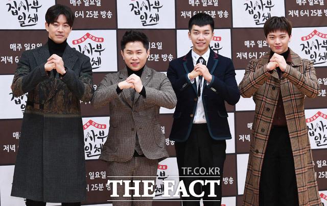 SBS新バラエティ「チプサブイルチェ」の記者会見が5日、ソウルで行われた。写真は同番組のレギュラーメンバーのイ・サンユン、ヤン・セヒョン、イ・スンギ、BTOBソンジェ。(左から)|撮影:ペ・ジョンハン
