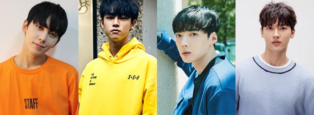 左から チェジン(MYNAME)、カラム、ソヌ(Boys Republic)、クォン・ドギュン(One O One)