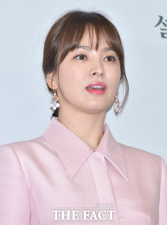 女優のソン・ヘギョが15日午前、ソウルで行われた化粧品ブランド雪花秀の新製品イベントに出席した。