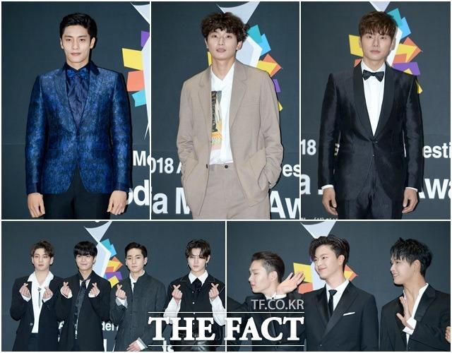 俳優のソンフン、歌手のチョン・ジヌン、俳優のイ・イギョン、BTOB、NU'EST W(左上から)が6日、ソウル・江南のCOEX展示ホールで開かれた「2018アジアモデルアワード」に参加した。