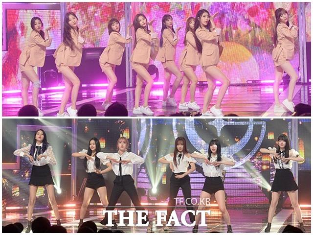 LOVELYZ(上)とGFRIENDが16日、韓国で行われたMBC Music「SHOW CHAMPION」の生放送に参加し、華麗なステージを披露した。