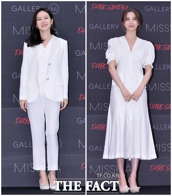 女優のソン・イェジン(左)とナナが17日、ソウルで行われた化粧品メーカーMISSHAのイベントに出席した。