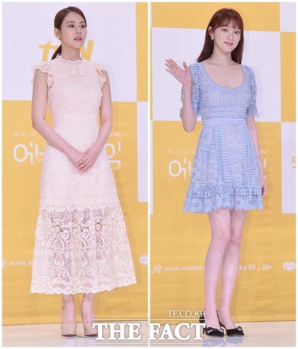 元KARAのスンヨン(左)とイ・ソンギョンが17日、ソウルで行われたtvNの新ドラマ「止めたい時間:アバウトタイム」の制作発表会に出席した。