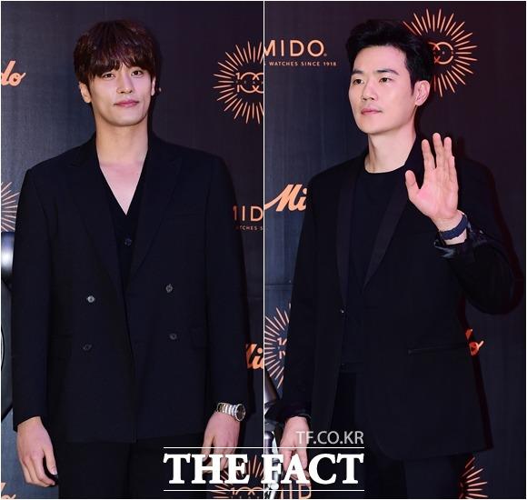 スイスの時計ブランド「MIDO」(ミドー)の100週年記念する韓国でのイベントが2日、ソウルで行われた。写真は俳優ソンフン、キム・ガンウ(右)。|撮影:ナム・ヨンヒ
