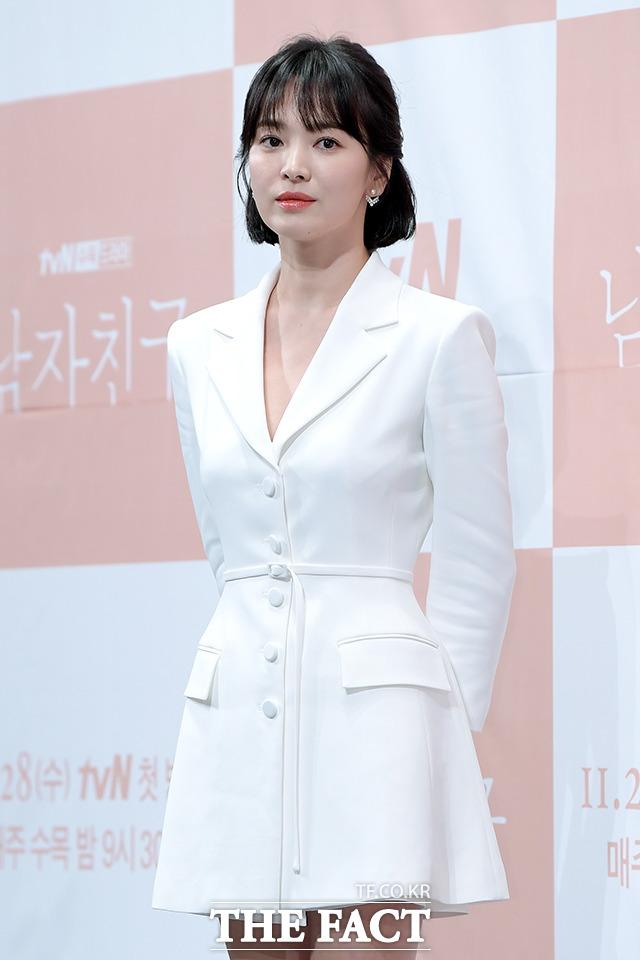 韓国のtvNチャンネルドラマ「ボーイフレンド(原題)」の制作発表会見が21日、ソウルで行われた。写真は同ドラマのヒロインを演じるソン・ヘギョ。 撮影:イ・ソナ