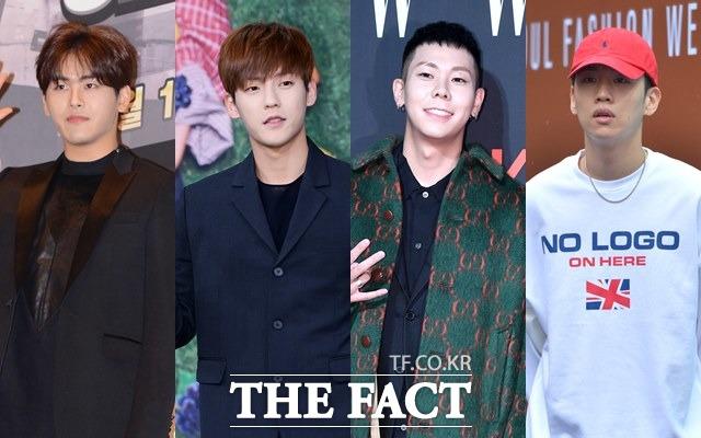 左から元INFINITEで俳優のイ・ホウォン(ホヤ)、BTOBのミンヒョク、ラッパーのLOCO、元Phantomのハンヘ。 写真:THE FACT DB
