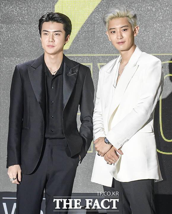 EXO-SCのデビューアルバム「What a Life」発売を記念する記者会見が22日、ソウルで行われた。 撮影:キム・セジョン