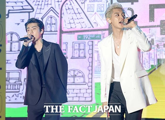 EXO-SCのデビューアルバム「What a life」発売を記念する記者会見が22日、ソウルで行われた。|撮影:キム・セジョン