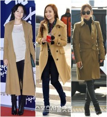 女優キム・ユンジン、パク・ミニョン、少女時代のユリ(左から)がキャメル色のコートでエレガントな冬のファッションを完成した。 チェ・ジンソク記者、キム・スルギインターン記者