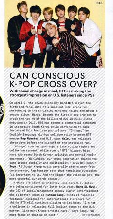 米国ビルボードがアイドルグループ「防弾少年団」の米国での人気とBIGHITエンターテインメントのパン・シヒョク代表とのインタビューを本誌主要記事として掲載した。(提供:news1)