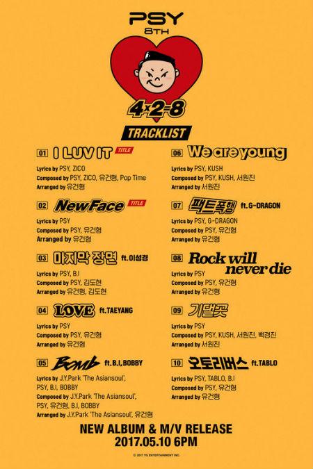 PSY(サイ)の8thアルバム「4X2=8」のトラックリストが全て公開された。(提供:OSEN)