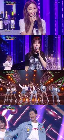 韓国人気バラエティー番組から誕生した女性ユニット「Unnies」(オンニス)が、音楽番組「MUSIC BANK」でデビューステージを成功させた。(提供:OSEN)