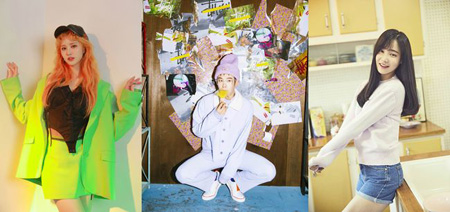 韓国アイドルグループ「Block B」ピオと「EXID」ジョンファ、「MOMOLAND」ヨヌが「THE SHOW」の新MCに抜てきされた。(提供:OSEN)