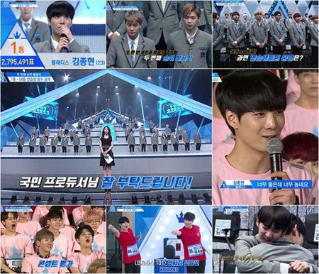 韓国Mnetの国民的ボーイズグループ育成番組「プロデュース101 シーズン2」第8回では、2回目の順位発表が公開された。(提供:OSEN)