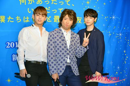 左からセヨン(MYNAME) 、ものまね芸人のホリ、カラム(大国男児)
