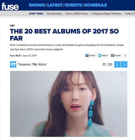 「少女時代」テヨン、米FUSE TV「2017上半期ベストアルバム20」に選定! (提供:OSEN)