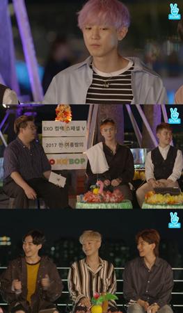 韓国ボーイズグループ「EXO」メンバーのBAEK HYUNが、CHANYEOLにノートPCを買ってもらったことを語った。(提供:OSEN)