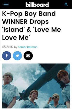 アメリカのビルボードが、韓国ボーイズグループ「WINNER」の新曲「LOVE ME LOVE ME」を称賛した。(提供:OSEN)