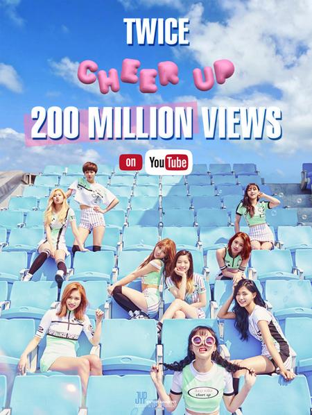 「TWICE」、「CHEER UP」MVの再生回数が2億ビューを突破(提供:news1)