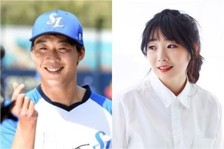 韓国の女芸人ホ・ミン(31)とサムスン・ライオンズ所属のイケメン投手チョン・イヌク(26)が結婚することがわかった。(提供:OSEN)