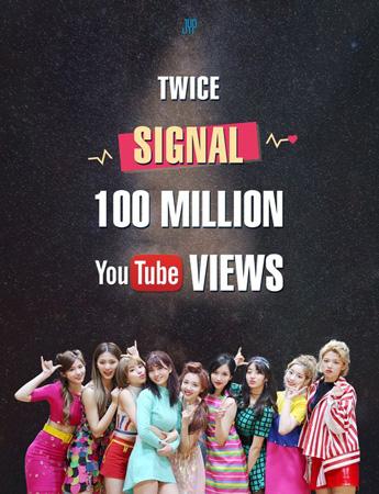 韓国ガールズグループ「TWICE」の4thミニアルバムのタイトル曲「SIGNAL」ミュージックビデオ(MV)がYouTube再生回数1億回を突破した。(提供:OSEN)
