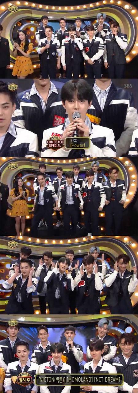 10日に放送されたSBS「人気歌謡」で、「EXO」が新曲「Power」を直接紹介した。(提供:OSEN)