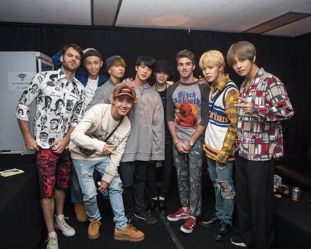 米ビルボードが韓国アイドルグループ「防弾少年団」のソーシャルメディア影響力で「ザ・チェインスモーカーズ」が光を浴びたと報道した。(提供:OSEN)
