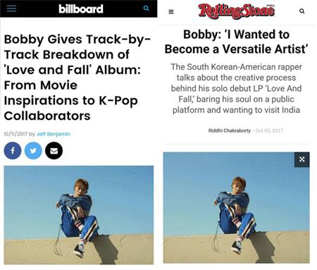 韓国アイドルグループ「iKON」のBOBBYが初のソロアルバム発表以降、ビルボードやローリング・ストーンなど主要海外メディアの関心を一身に受けている。(提供:OSEN)