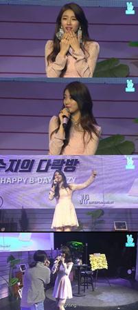 """韓国ガールズグループ「Miss A」メンバーのスジ(23)が、現在韓国で放映中のドラマ「あなたが眠っている間に」の""""愛嬌3種セット""""を披露した。(提供:OSEN)"""